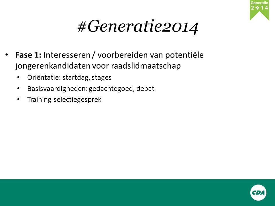 #Generatie2014 Fase 1: Interesseren / voorbereiden van potentiële jongerenkandidaten voor raadslidmaatschap Oriëntatie: startdag, stages Basisvaardigheden: gedachtegoed, debat Training selectiegesprek