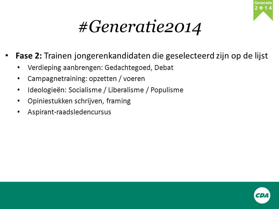 #Generatie2014 Fase 2: Trainen jongerenkandidaten die geselecteerd zijn op de lijst Verdieping aanbrengen: Gedachtegoed, Debat Campagnetraining: opzetten / voeren Ideologieën: Socialisme / Liberalisme / Populisme Opiniestukken schrijven, framing Aspirant-raadsledencursus