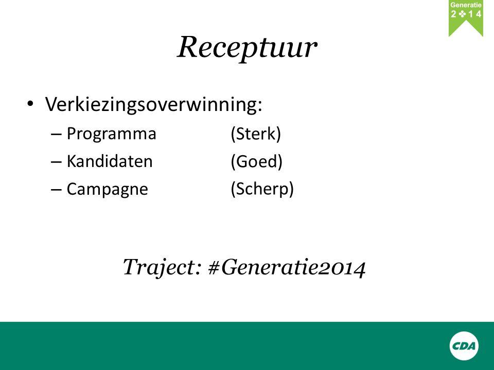 Receptuur Verkiezingsoverwinning: – Programma – Kandidaten – Campagne (Sterk) (Goed) (Scherp) Traject: #Generatie2014