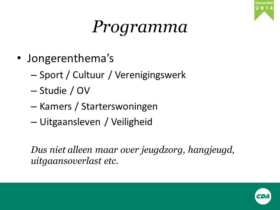 Programma Jongerenthema's – Sport / Cultuur / Verenigingswerk – Studie / OV – Kamers / Starterswoningen – Uitgaansleven / Veiligheid Dus niet alleen maar over jeugdzorg, hangjeugd, uitgaansoverlast etc.