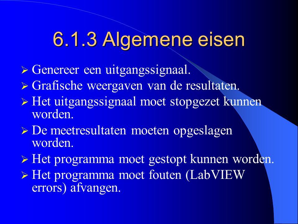 6.1.3 Algemene eisen  Genereer een uitgangssignaal.