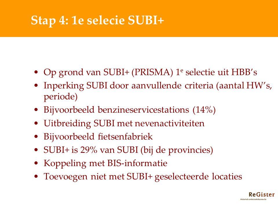 Stap 4: 1e selecie SUBI+ Op grond van SUBI+ (PRISMA) 1 e selectie uit HBB's Inperking SUBI door aanvullende criteria (aantal HW's, periode) Bijvoorbeeld benzineservicestations (14%) Uitbreiding SUBI met nevenactiviteiten Bijvoorbeeld fietsenfabriek SUBI+ is 29% van SUBI (bij de provincies) Koppeling met BIS-informatie Toevoegen niet met SUBI+ geselecteerde locaties