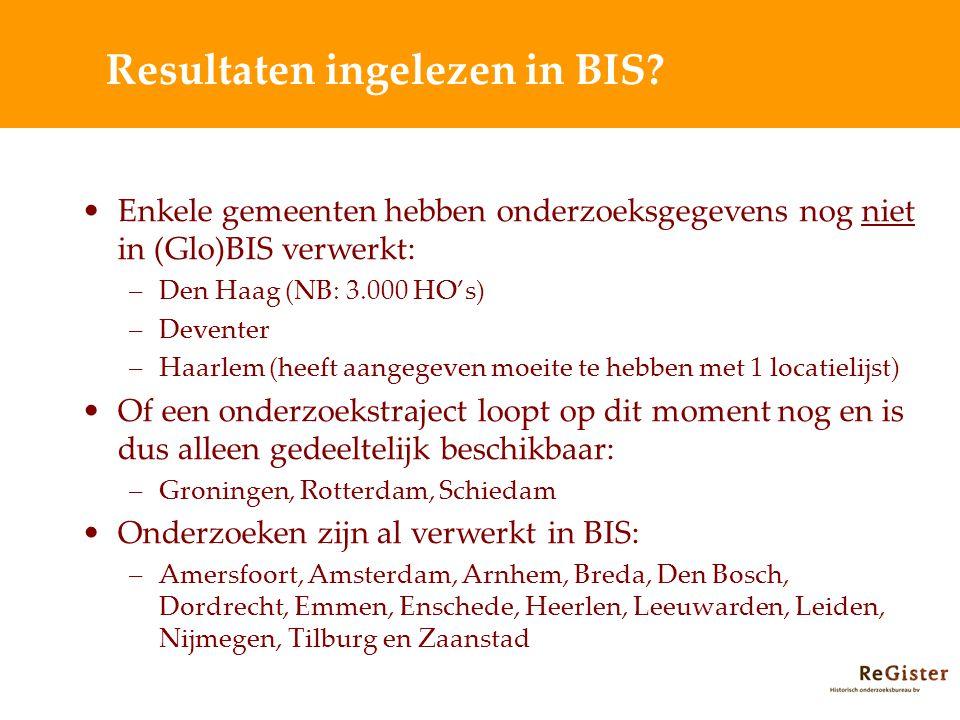 Resultaten ingelezen in BIS.