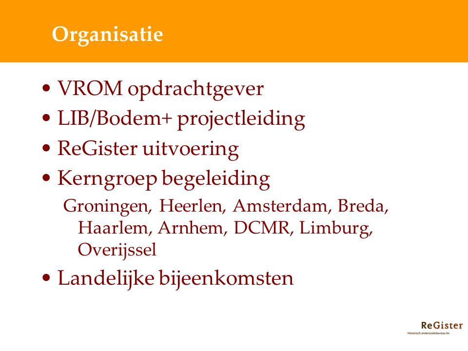 Organisatie VROM opdrachtgever LIB/Bodem+ projectleiding ReGister uitvoering Kerngroep begeleiding Groningen, Heerlen, Amsterdam, Breda, Haarlem, Arnhem, DCMR, Limburg, Overijssel Landelijke bijeenkomsten