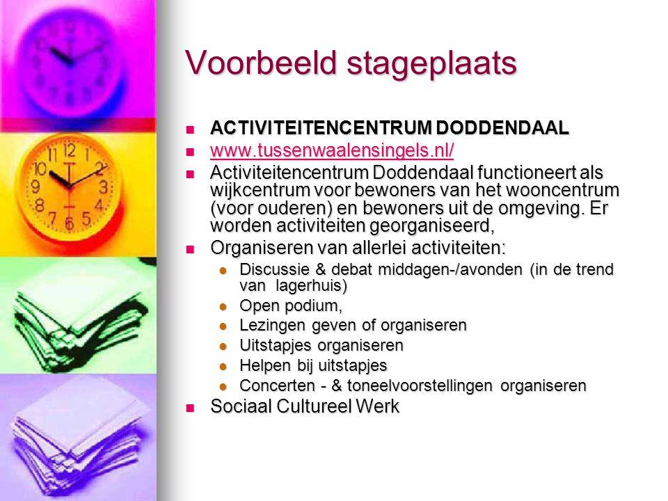 Voorbeeld stageplaats ACTIVITEITENCENTRUM DODDENDAAL ACTIVITEITENCENTRUM DODDENDAAL www.tussenwaalensingels.nl/ www.tussenwaalensingels.nl/ www.tussen