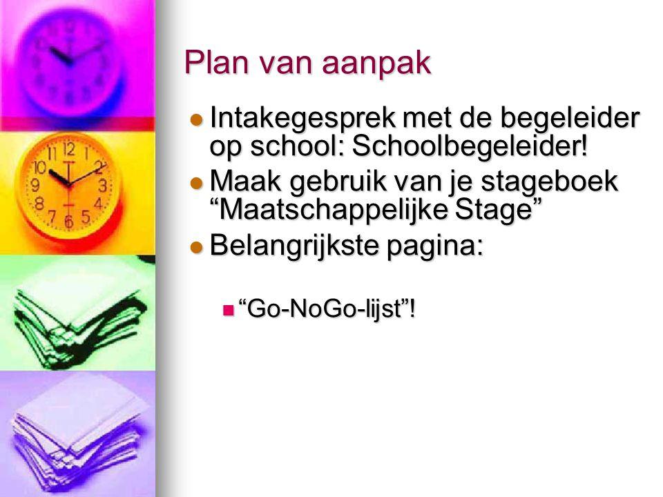 Plan van aanpak Intakegesprek met de begeleider op school: Schoolbegeleider! Intakegesprek met de begeleider op school: Schoolbegeleider! Maak gebruik