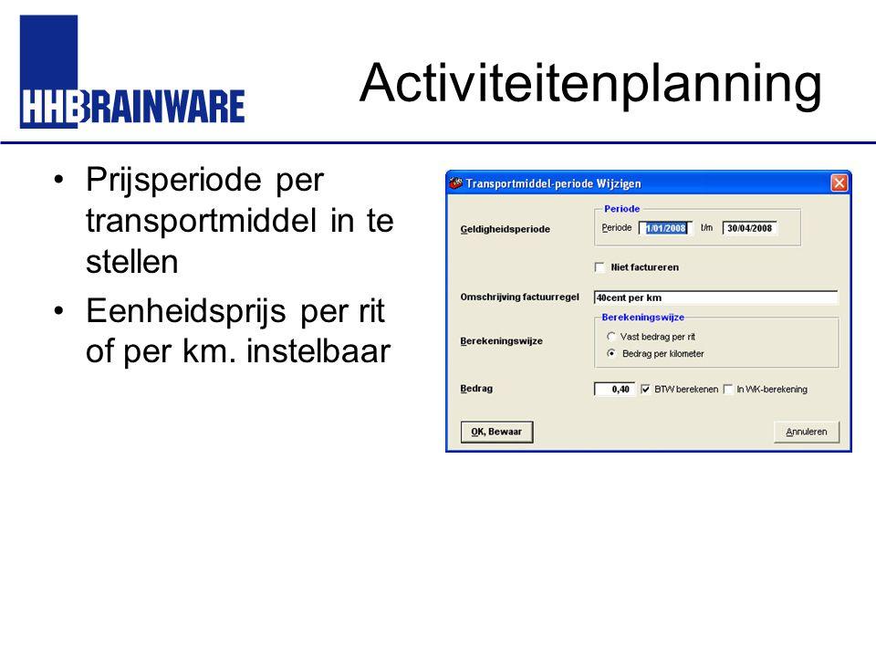 Activiteitenplanning Prijsperiode per transportmiddel in te stellen Eenheidsprijs per rit of per km. instelbaar