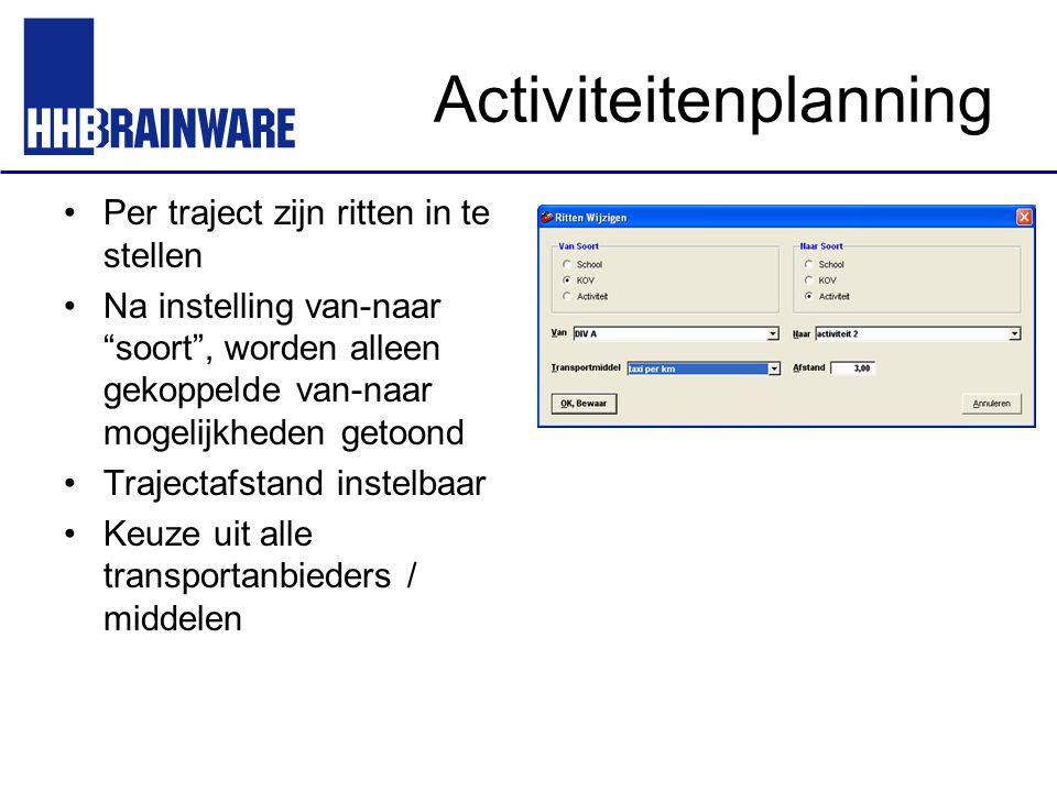 """Activiteitenplanning Per traject zijn ritten in te stellen Na instelling van-naar """"soort"""", worden alleen gekoppelde van-naar mogelijkheden getoond Tra"""