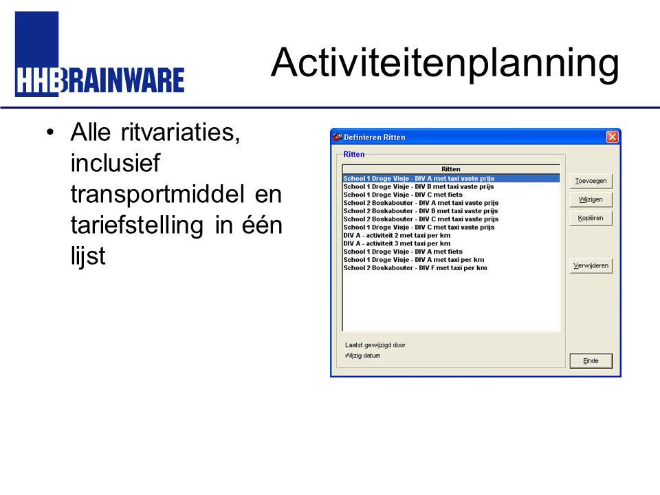 Activiteitenplanning Alle ritvariaties, inclusief transportmiddel en tariefstelling in één lijst