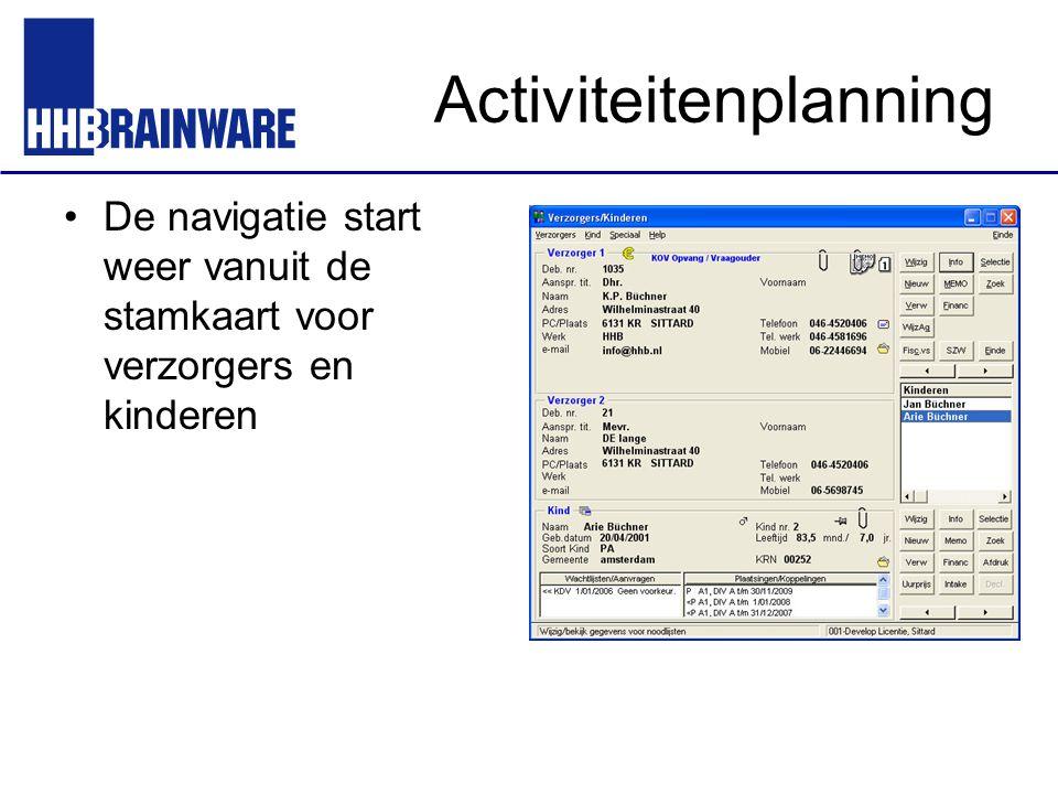 Activiteitenplanning De navigatie start weer vanuit de stamkaart voor verzorgers en kinderen