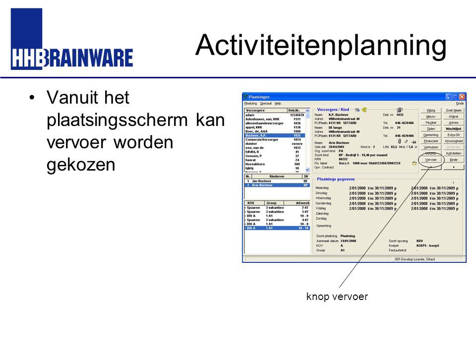 Activiteitenplanning Vanuit het plaatsingsscherm kan vervoer worden gekozen knop vervoer