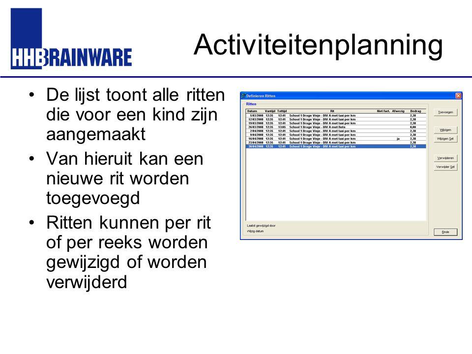 Activiteitenplanning De lijst toont alle ritten die voor een kind zijn aangemaakt Van hieruit kan een nieuwe rit worden toegevoegd Ritten kunnen per r