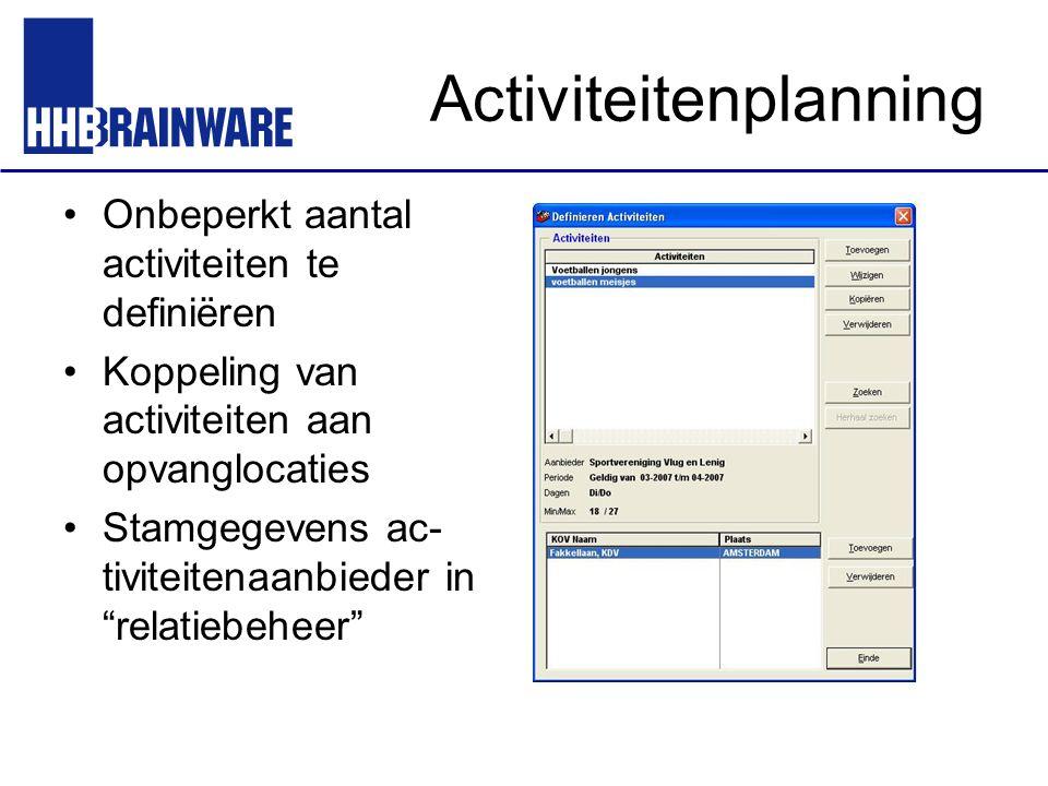 Activiteitenplanning Onbeperkt aantal activiteiten te definiëren Koppeling van activiteiten aan opvanglocaties Stamgegevens ac- tiviteitenaanbieder in