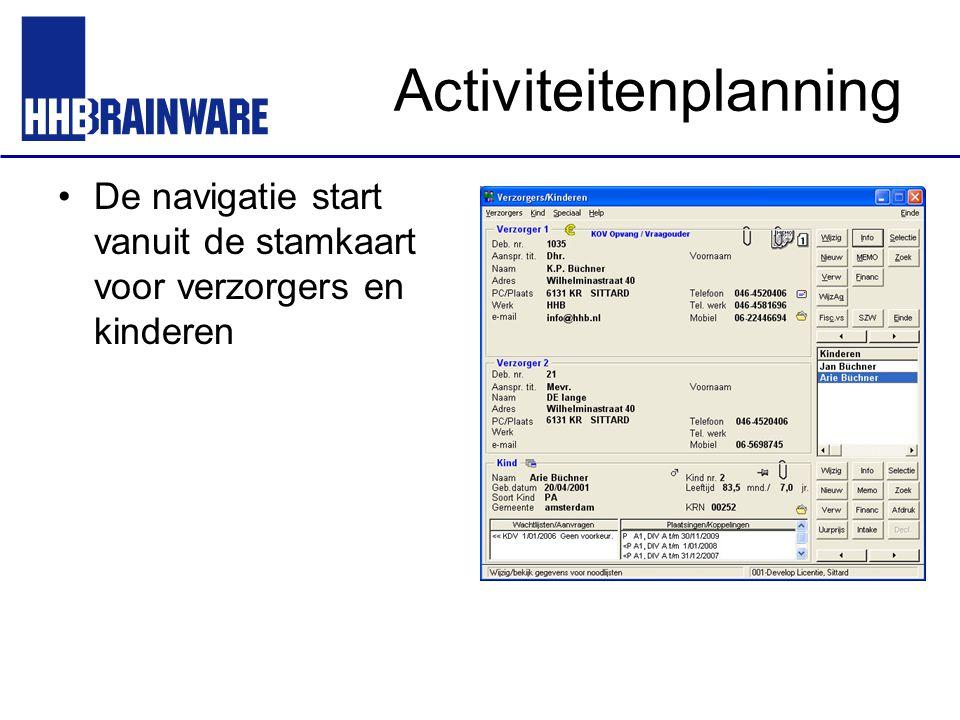 Activiteitenplanning De navigatie start vanuit de stamkaart voor verzorgers en kinderen