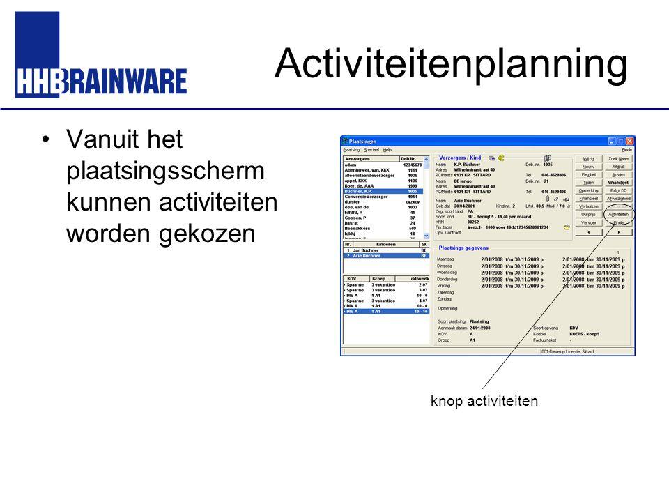 Activiteitenplanning Vanuit het plaatsingsscherm kunnen activiteiten worden gekozen knop activiteiten
