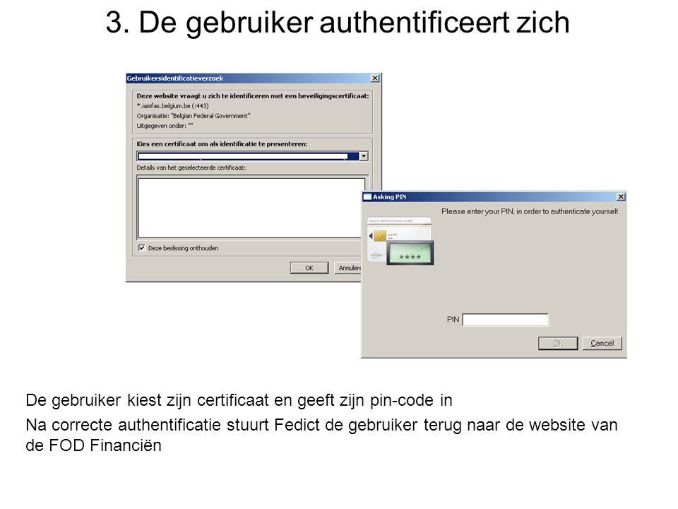3. De gebruiker authentificeert zich De gebruiker kiest zijn certificaat en geeft zijn pin-code in Na correcte authentificatie stuurt Fedict de gebrui
