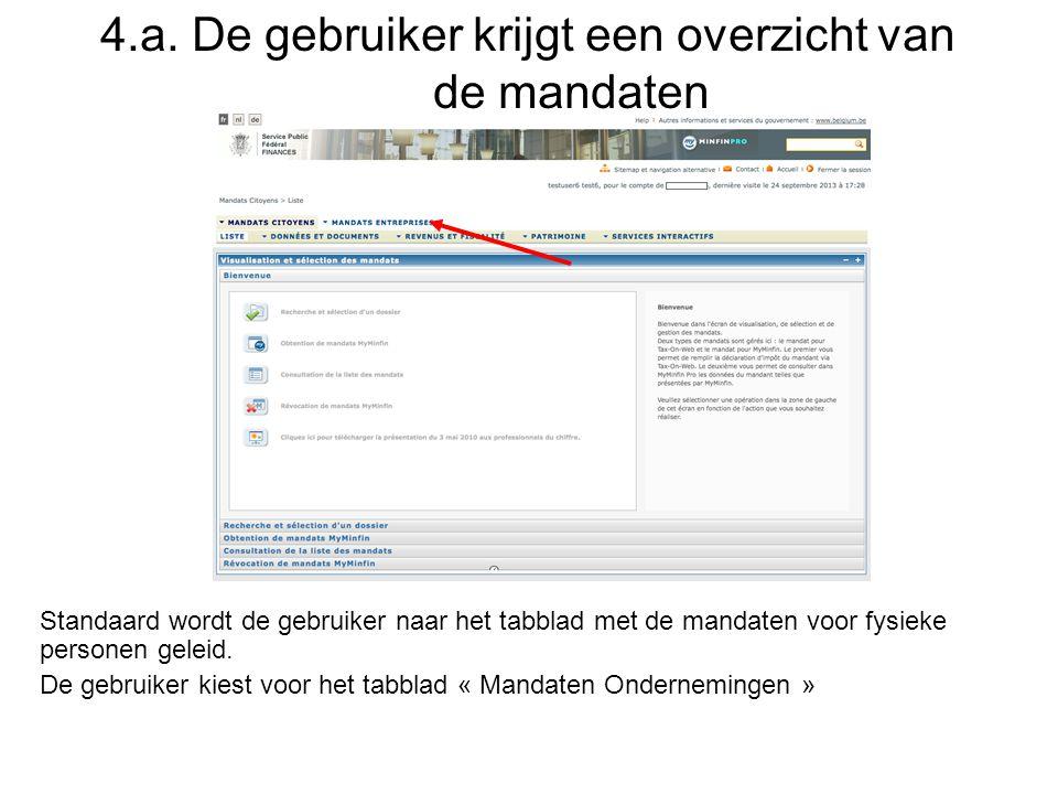 4.a. De gebruiker krijgt een overzicht van de mandaten Standaard wordt de gebruiker naar het tabblad met de mandaten voor fysieke personen geleid. De