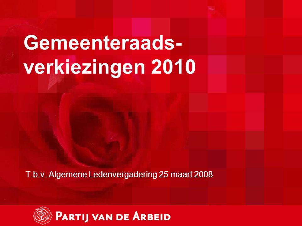 Gemeenteraads- verkiezingen 2010 T.b.v. Algemene Ledenvergadering 25 maart 2008