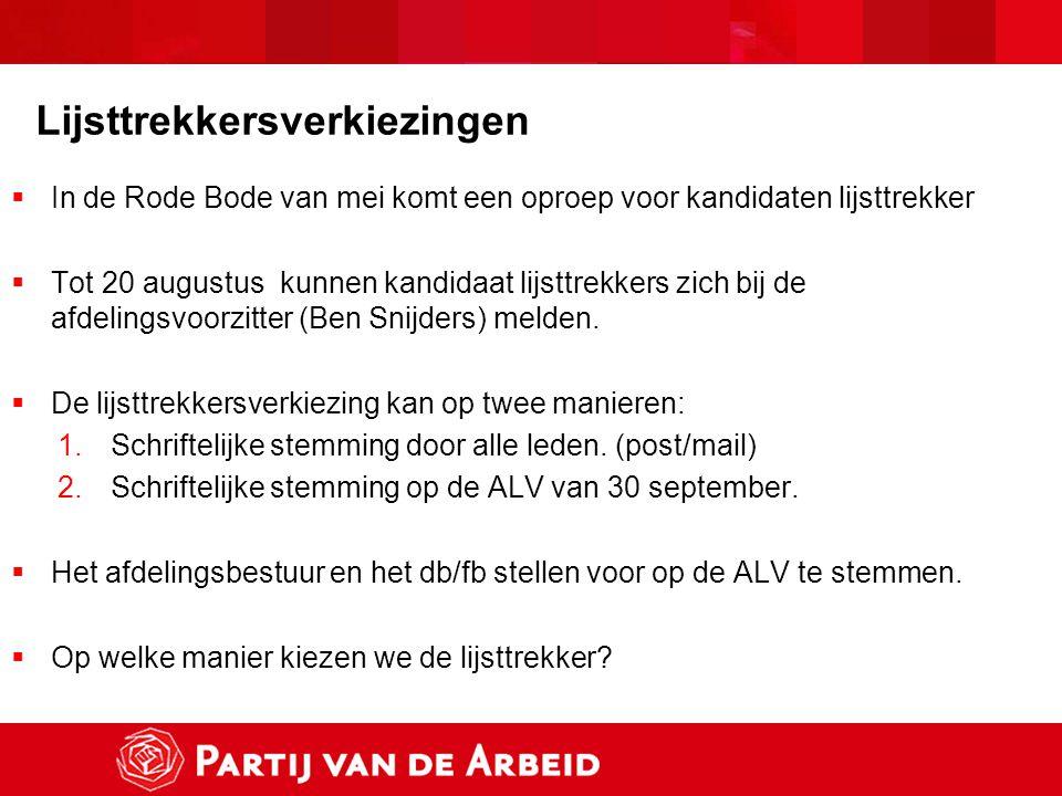 Lijsttrekkersverkiezingen  In de Rode Bode van mei komt een oproep voor kandidaten lijsttrekker  Tot 20 augustus kunnen kandidaat lijsttrekkers zich