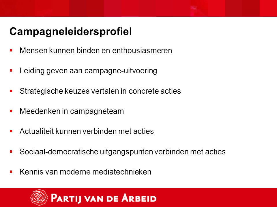 Campagneleidersprofiel  Mensen kunnen binden en enthousiasmeren  Leiding geven aan campagne-uitvoering  Strategische keuzes vertalen in concrete ac