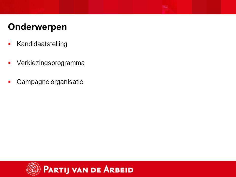 Onderwerpen  Kandidaatstelling  Verkiezingsprogramma  Campagne organisatie