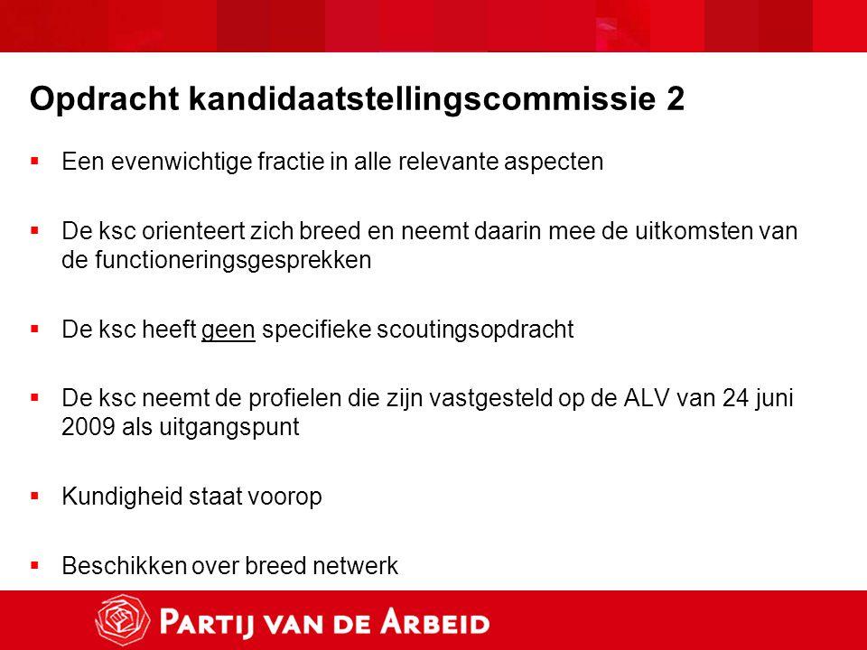 Opdracht kandidaatstellingscommissie 2  Een evenwichtige fractie in alle relevante aspecten  De ksc orienteert zich breed en neemt daarin mee de uit