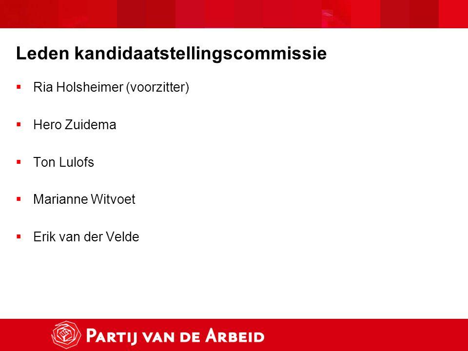 Leden kandidaatstellingscommissie  Ria Holsheimer (voorzitter)  Hero Zuidema  Ton Lulofs  Marianne Witvoet  Erik van der Velde