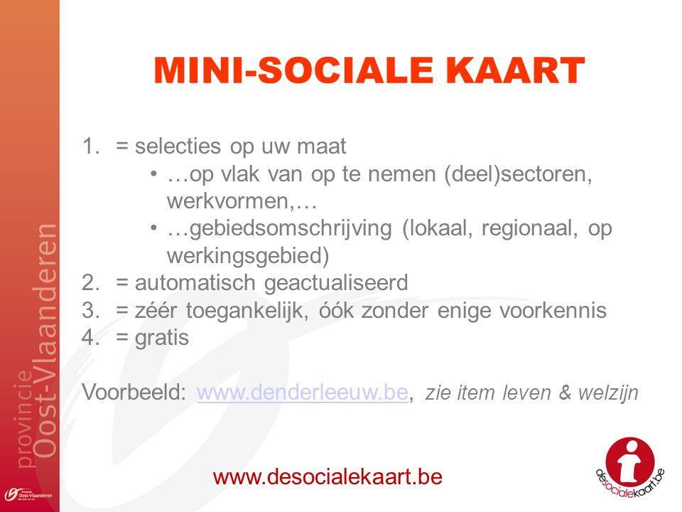 MINI-SOCIALE KAART www.desocialekaart.be 1.= selecties op uw maat …op vlak van op te nemen (deel)sectoren, werkvormen,… …gebiedsomschrijving (lokaal,