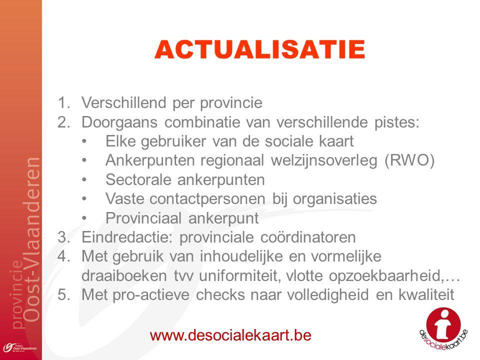 ACTUALISATIE www.desocialekaart.be 1.Verschillend per provincie 2.Doorgaans combinatie van verschillende pistes: Elke gebruiker van de sociale kaart A