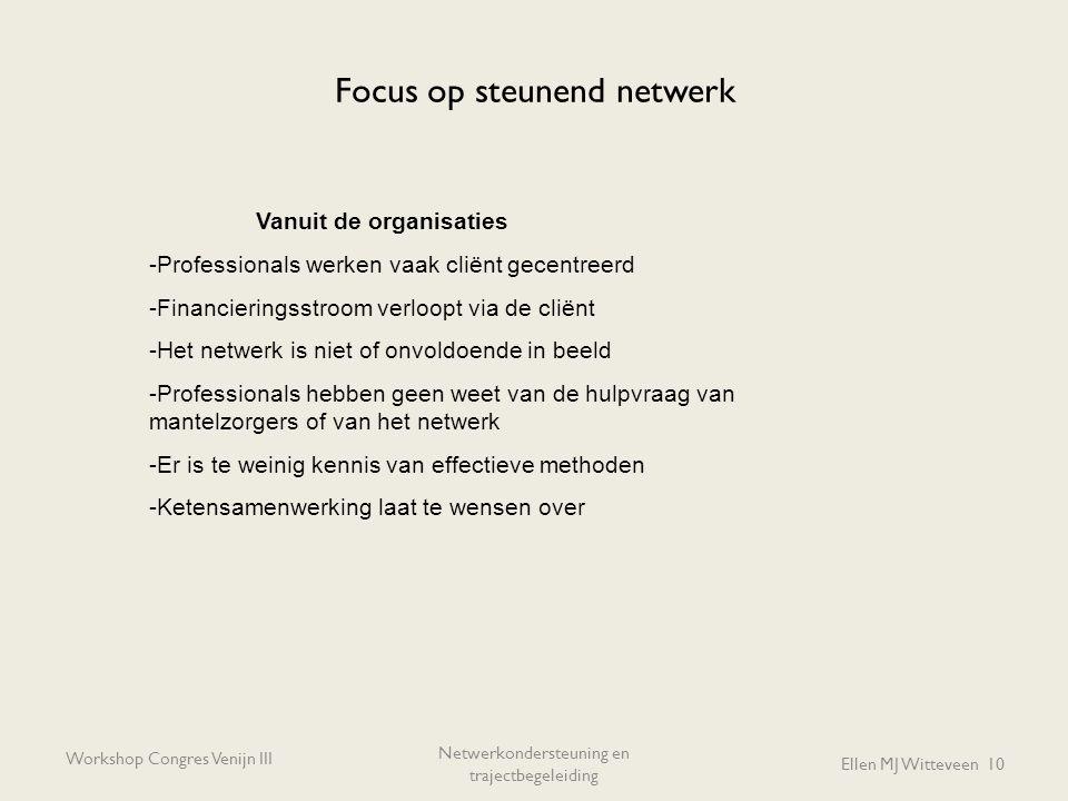 Focus op steunend netwerk Workshop Congres Venijn III Netwerkondersteuning en trajectbegeleiding Ellen MJ Witteveen 10 Vanuit de organisaties -Profess