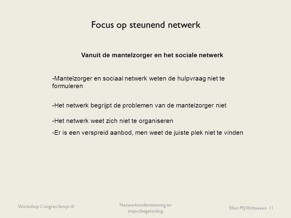 Focus op steunend netwerk Workshop Congres Venijn III Netwerkondersteuning en trajectbegeleiding Ellen MJ Witteveen 11 Vanuit de mantelzorger en het s
