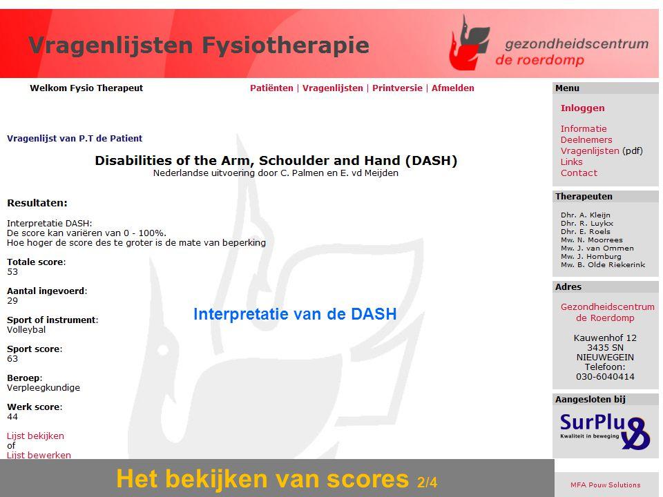 Het bekijken van scores 2/4 Interpretatie van de DASH