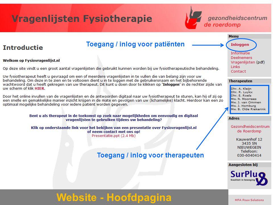 Website - Hoofdpagina Toegang / inlog voor patiënten Toegang / inlog voor therapeuten
