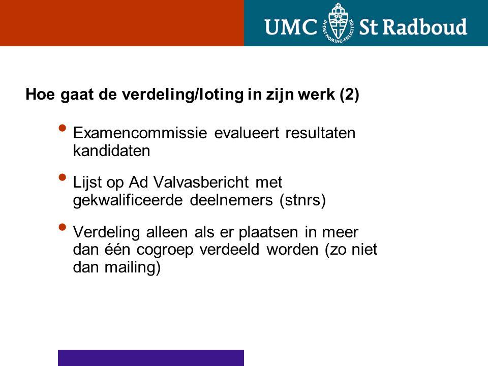 Hoe gaat de verdeling/loting in zijn werk (2) Examencommissie evalueert resultaten kandidaten Lijst op Ad Valvasbericht met gekwalificeerde deelnemers