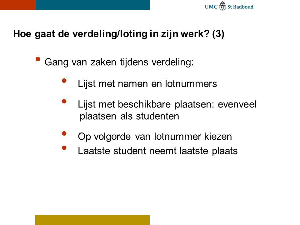 Hoe gaat de verdeling/loting in zijn werk? (3) Gang van zaken tijdens verdeling: Lijst met namen en lotnummers Lijst met beschikbare plaatsen: evenvee