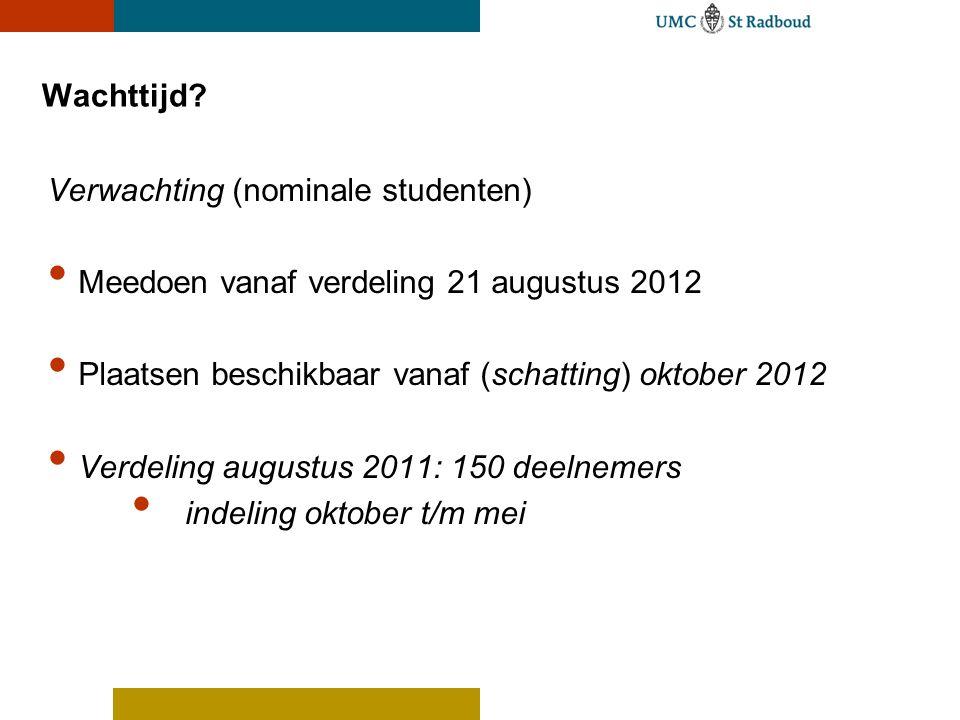 Wachttijd? Verwachting (nominale studenten) Meedoen vanaf verdeling 21 augustus 2012 Plaatsen beschikbaar vanaf (schatting) oktober 2012 Verdeling aug