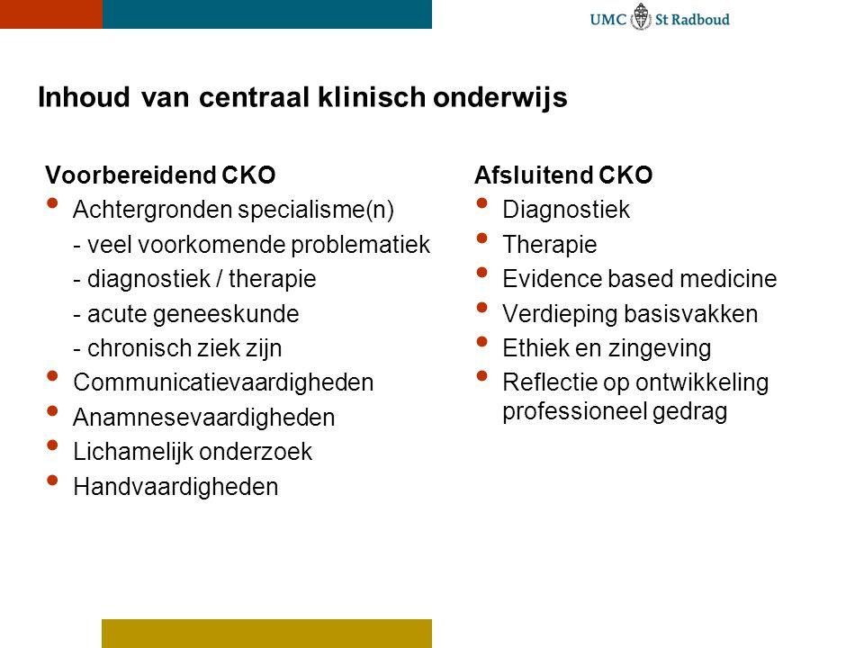 Inhoud van centraal klinisch onderwijs Voorbereidend CKO Achtergronden specialisme(n) - veel voorkomende problematiek - diagnostiek / therapie - acute
