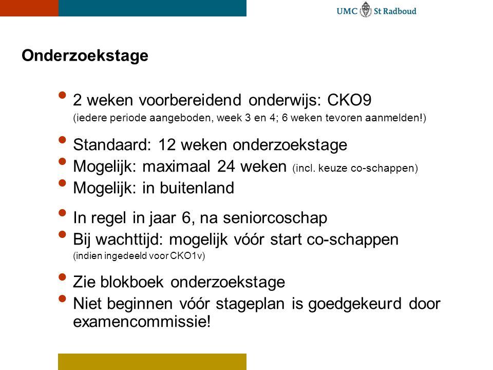 Onderzoekstage 2 weken voorbereidend onderwijs: CKO9 (iedere periode aangeboden, week 3 en 4; 6 weken tevoren aanmelden!) Standaard: 12 weken onderzoe