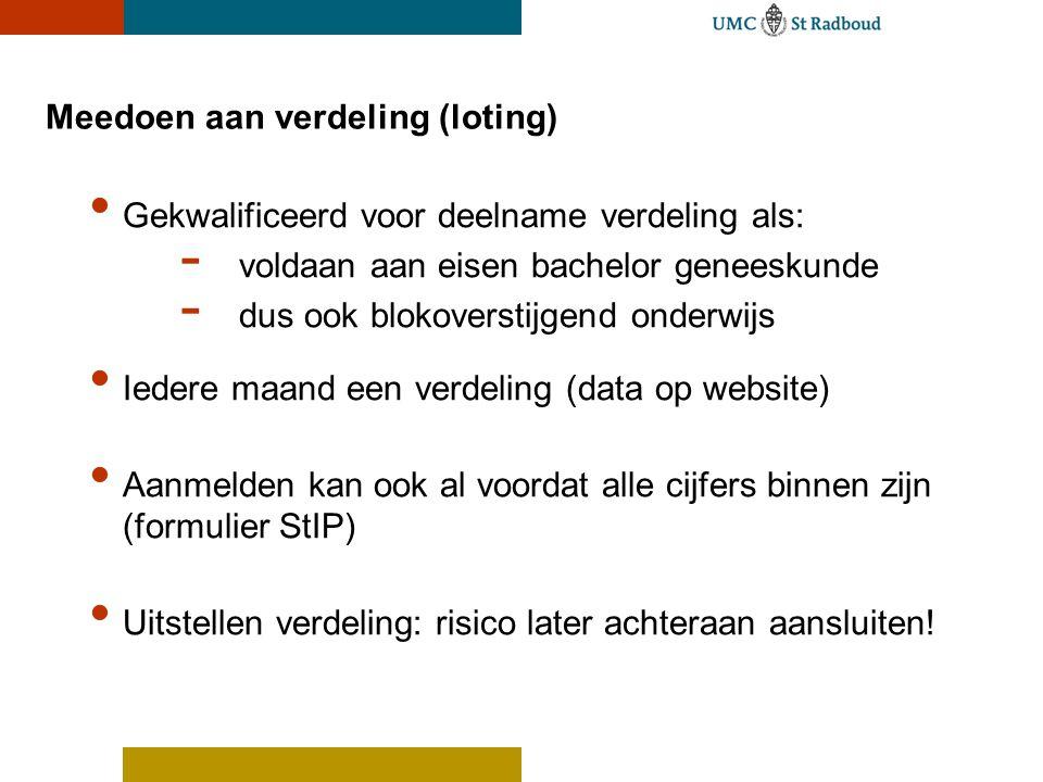 Meedoen aan verdeling (loting) Gekwalificeerd voor deelname verdeling als: - voldaan aan eisen bachelor geneeskunde - dus ook blokoverstijgend onderwi