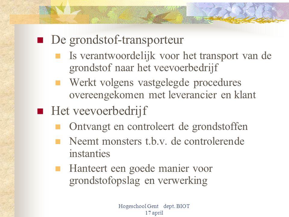 Hogeschool Gent dept. BIOT 17 april De grondstof-transporteur Is verantwoordelijk voor het transport van de grondstof naar het veevoerbedrijf Werkt vo
