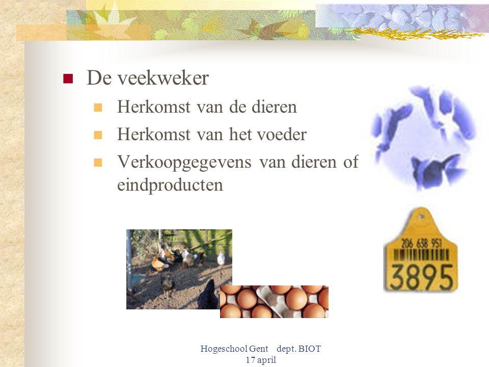 Hogeschool Gent dept. BIOT 17 april De veekweker Herkomst van de dieren Herkomst van het voeder Verkoopgegevens van dieren of eindproducten