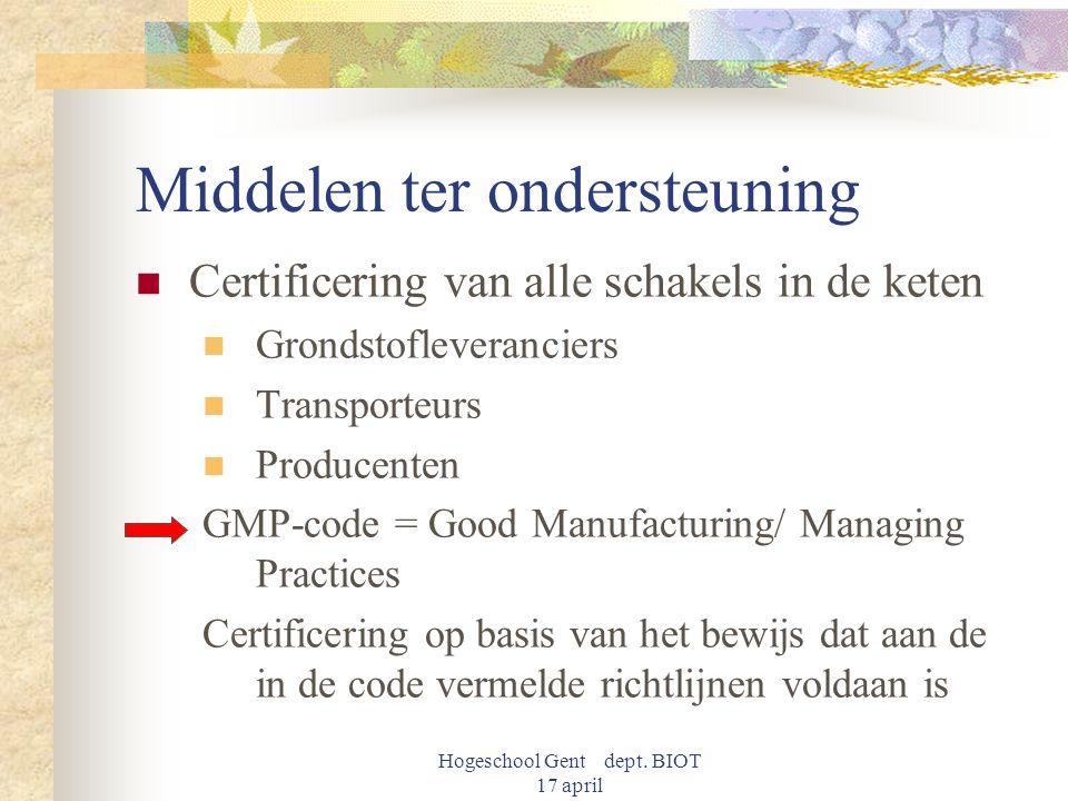 Hogeschool Gent dept. BIOT 17 april Middelen ter ondersteuning Certificering van alle schakels in de keten Grondstofleveranciers Transporteurs Produce