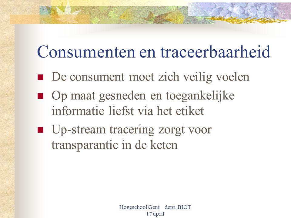 Hogeschool Gent dept. BIOT 17 april Consumenten en traceerbaarheid De consument moet zich veilig voelen Op maat gesneden en toegankelijke informatie l