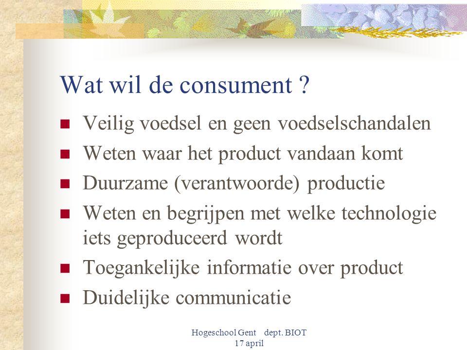 Hogeschool Gent dept. BIOT 17 april Wat wil de consument ? Veilig voedsel en geen voedselschandalen Weten waar het product vandaan komt Duurzame (vera