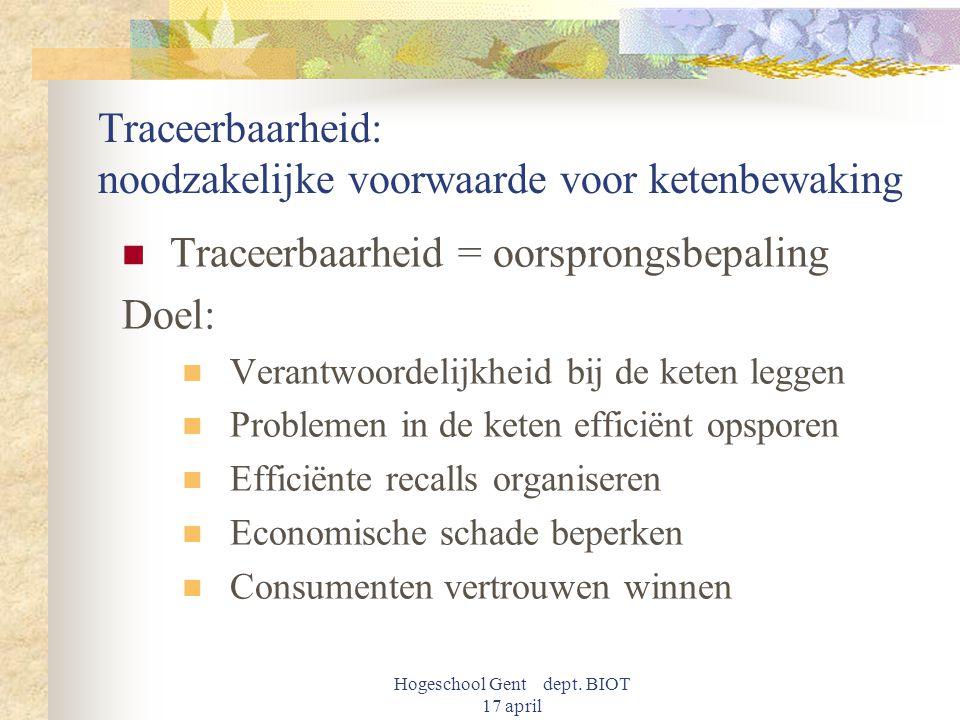Hogeschool Gent dept. BIOT 17 april Traceerbaarheid: noodzakelijke voorwaarde voor ketenbewaking Traceerbaarheid = oorsprongsbepaling Doel: Verantwoor