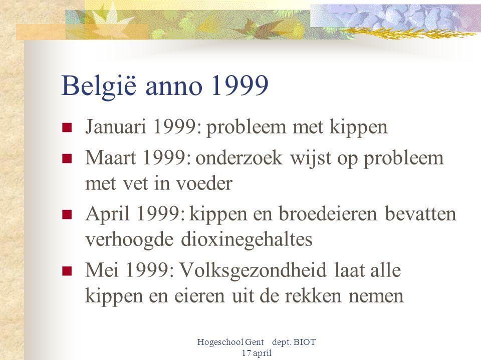 Hogeschool Gent dept. BIOT 17 april België anno 1999 Januari 1999: probleem met kippen Maart 1999: onderzoek wijst op probleem met vet in voeder April