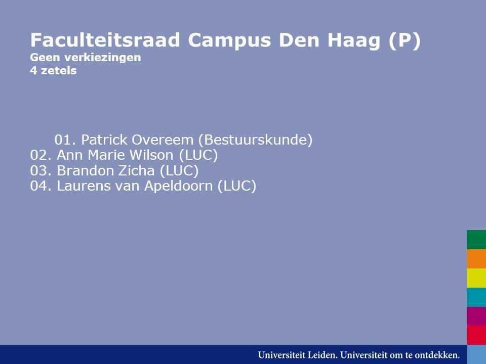 Faculteitsraad Campus Den Haag (P) Geen verkiezingen 4 zetels 01.