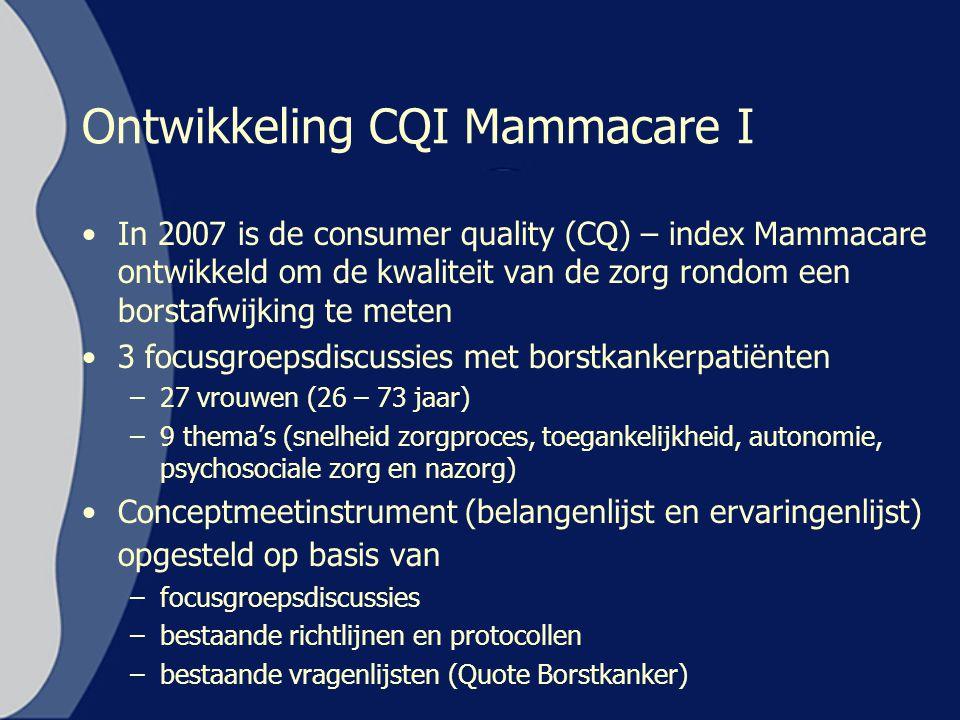 Ontwikkeling CQI Mammacare I In 2007 is de consumer quality (CQ) – index Mammacare ontwikkeld om de kwaliteit van de zorg rondom een borstafwijking te