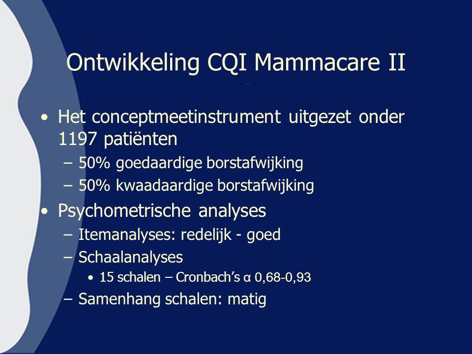 Ontwikkeling CQI Mammacare II Het conceptmeetinstrument uitgezet onder 1197 patiënten –50% goedaardige borstafwijking –50% kwaadaardige borstafwijking
