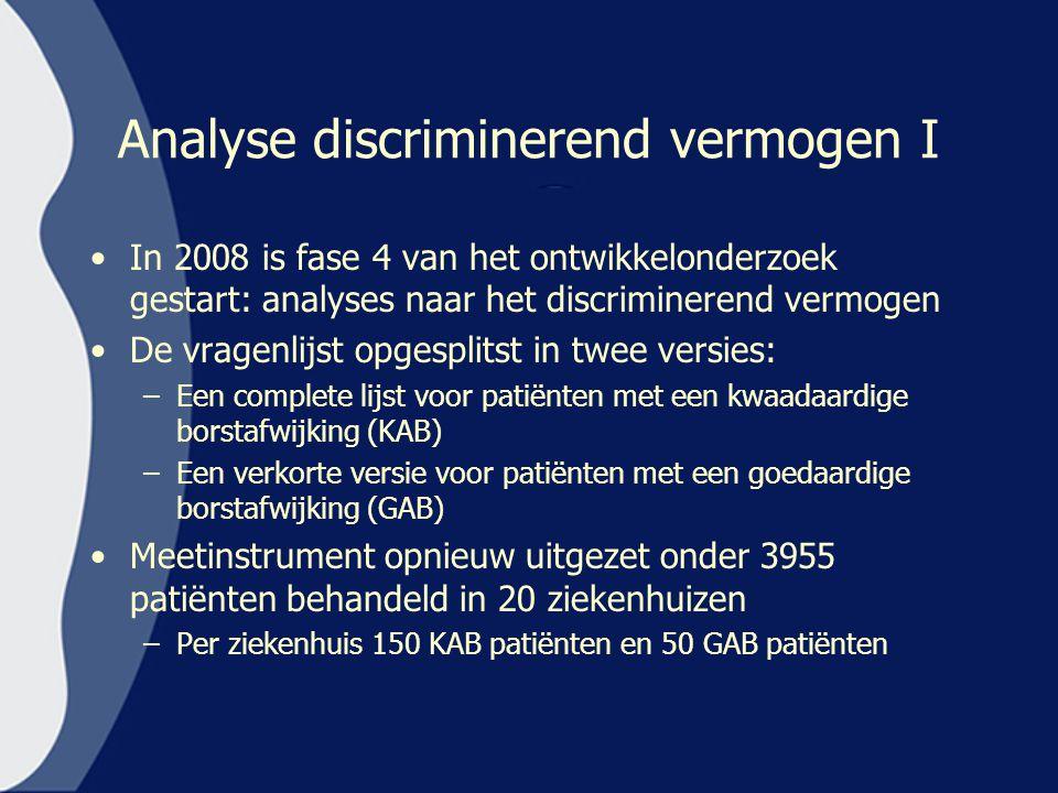 Analyse discriminerend vermogen I In 2008 is fase 4 van het ontwikkelonderzoek gestart: analyses naar het discriminerend vermogen De vragenlijst opges